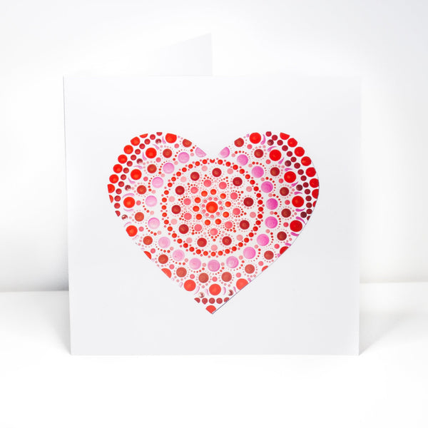Red dotted heart greeting card, Birthday card