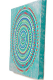 Large canvas dot mandala, red blue green yellow silver turquoise