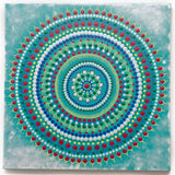 Large dot mandala, red blue green yellow silver turquoise