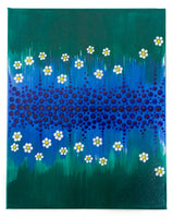 Dot painting | Flowers dot painting | blue green white yellow dot painting
