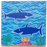 Sharks in the sea dot painting on canvas
