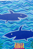Sharks in the sea dot painting on canvas detail
