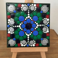 Small dot mandala with mini easel green blue white red silver black