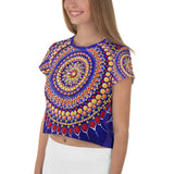 Blue Mandala print women's crop t-shirt