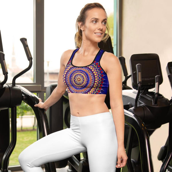 Blue Mandala print padded Sports bra