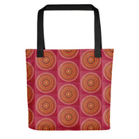 Red Mandala pattern tote bag with black handle