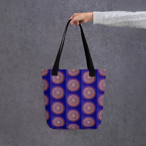 Blue Mandala tote bag with black handle