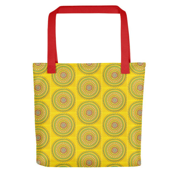 Yellow dot Mandala tote bag with red handle