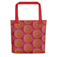 Red Mandala pattern tote bag with red handle