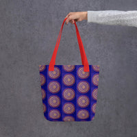 Blue Mandala tote bag with red handle
