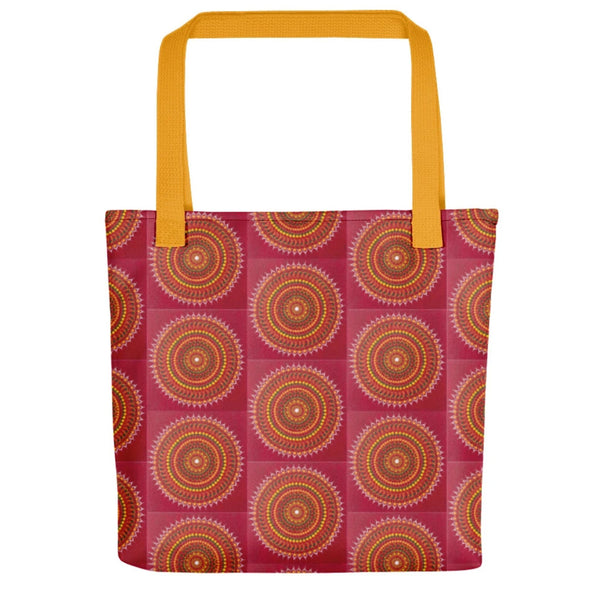 Red Mandala pattern tote bag with yellow handle