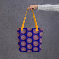 Blue Mandala tote bag with yellow handle