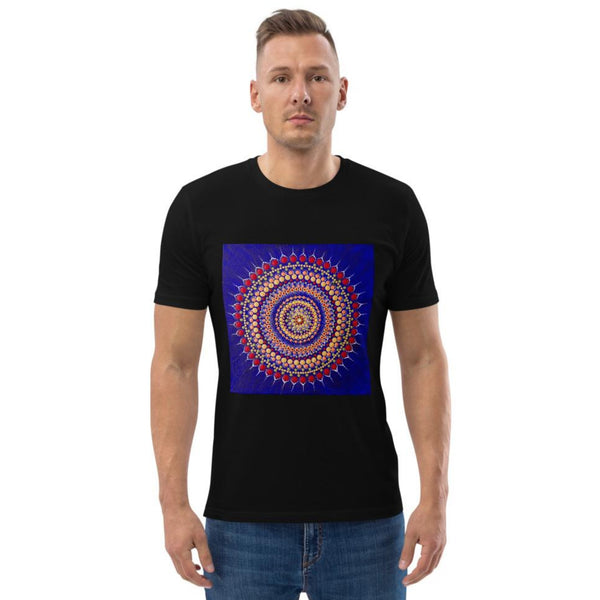 Unisex black t-shirt with blue Mandala