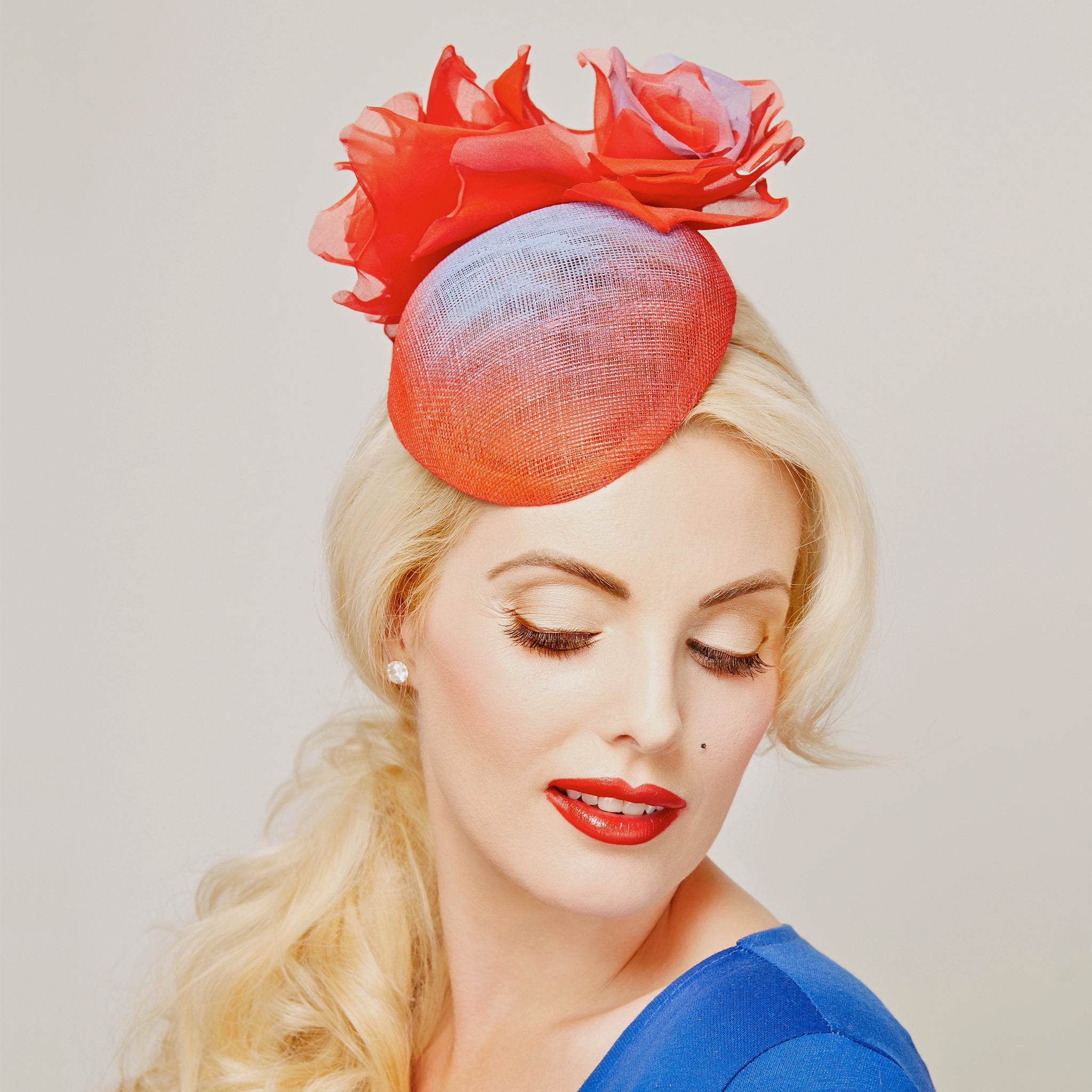 Red Blue Rose beret