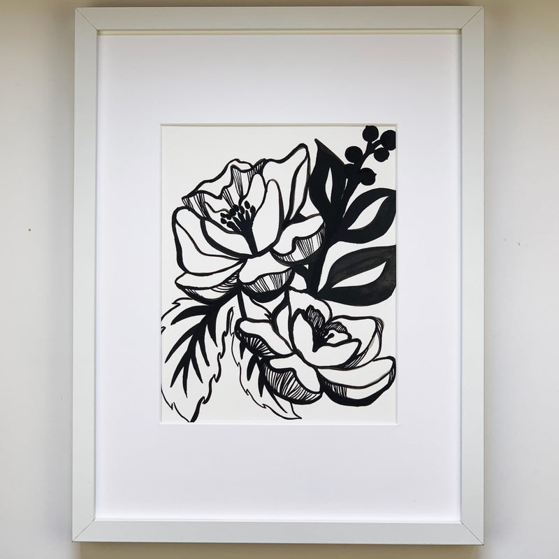 Black Ink Floral Bouquet