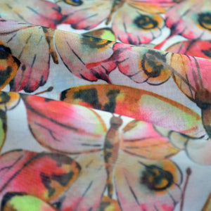 Chiffon Fabric For Watercolor seamless pattern with colorful butterflies 72980778