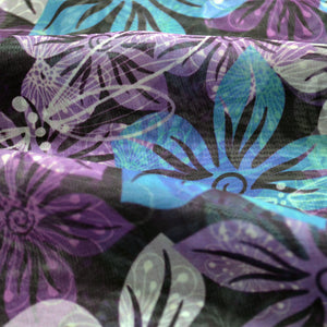 Chiffon Fabric For Seamless vivid floral spring pattern with translucent violet-blue-white flowers 24441252