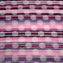 Load image into Gallery viewer, Chiffon Fabric For Seamless striped pink pattern with diagonal strips and translucent white polka dots 16524941