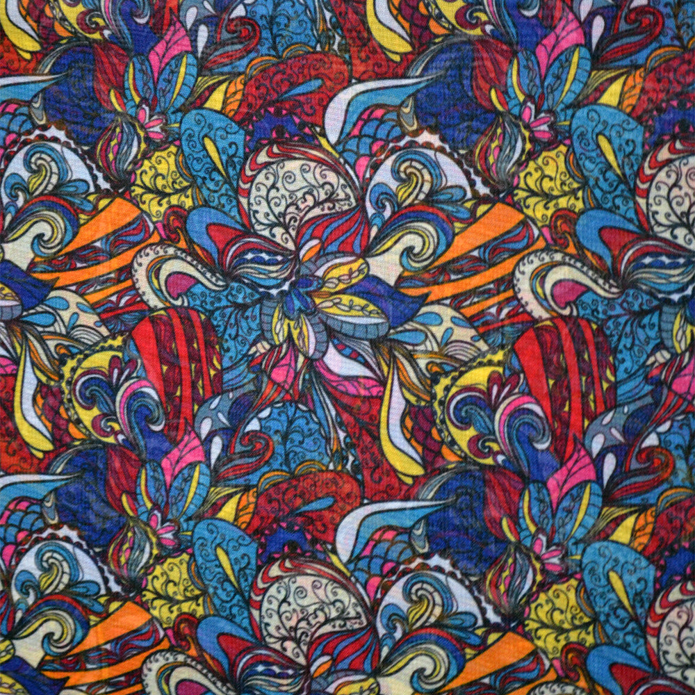 Chiffon Fabric For Colorful Floral Pattern