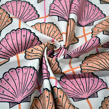 Load image into Gallery viewer, Cotton Poplin Fabric With Sea Shells Vintage Seamless Pattern 75342988