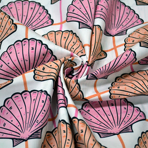 Cotton Poplin Fabric With Sea Shells Vintage Seamless Pattern 75342988