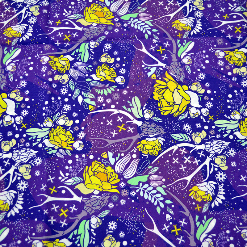 Cotton Poplin Fabric With Skull with floral ornament 31121159