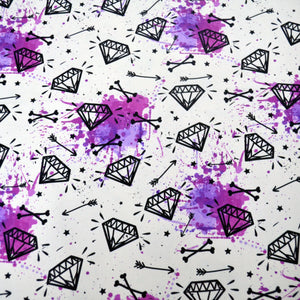 Cotton French Terry Fabric With Vector seamless grunge pattern with vintage diamonds, bones, arrows, stars and watercolor splashes. Rock and roll style 36227170