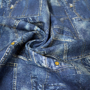 Cotton French Terry Fabric With Denim material patchwork 48781974