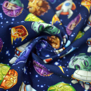 Cotton French Terry Fabric With Comic space with planets and spaceships Rocket cartoon star and science design 47419175