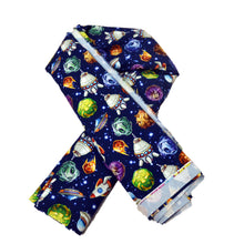Load image into Gallery viewer, Cotton French Terry Fabric With Comic space with planets and spaceships Rocket cartoon star and science design 47419175