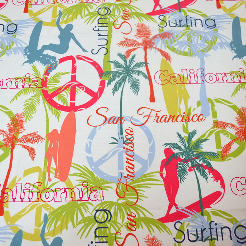 Chiffon Fabric With Surfing California San Francisco Colorful Seamless Pattern Surface Design With Surfing Women 52154254