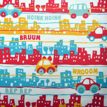 Load image into Gallery viewer, Chiffon Fabric With Cute urban traffic  seamless pattern of buildings and cars in custom colors 20009148