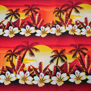 Chiffon Fabric With Tropical golden sunset with hibiscus flowers seamless pattern 44283011