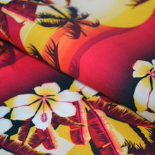 Load image into Gallery viewer, Chiffon Fabric With Tropical golden sunset with hibiscus flowers seamless pattern 44283011