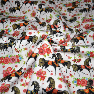 Cotton French Terry Fabric With seamless texture with horses in flowers 22467791