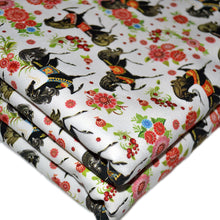 Load image into Gallery viewer, Cotton French Terry Fabric With seamless texture with horses in flowers 22467791