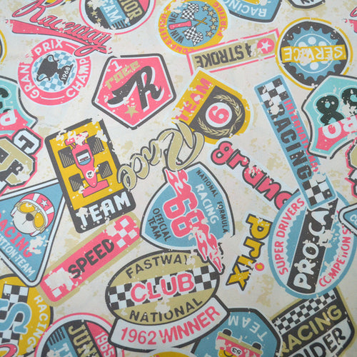 Chiffon Fabric With Kids racing badges patchwork - Seamless vector pattern in custom colors grunge effect in separate layers 23863569