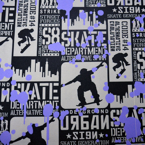 Chiffon Fabric With Urban Skateboarding seamless pattern 19259499