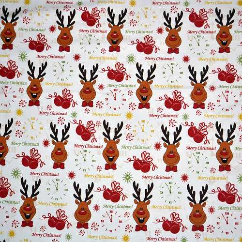 Cotton Lycra Fabric For Christmas pattern seamless with clock, deer and bells 15968457