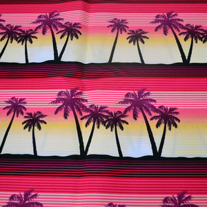 Chiffon Fabric With Tropical palms at sunset seamless pattern 41494812