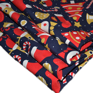 Cotton Lycra Fabric For Cute Christmas Colorful Seamless 49349564