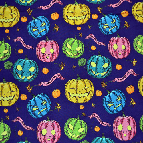 Cotton Lycra Fabric For Halloween seamless background with pumpkin 52853262