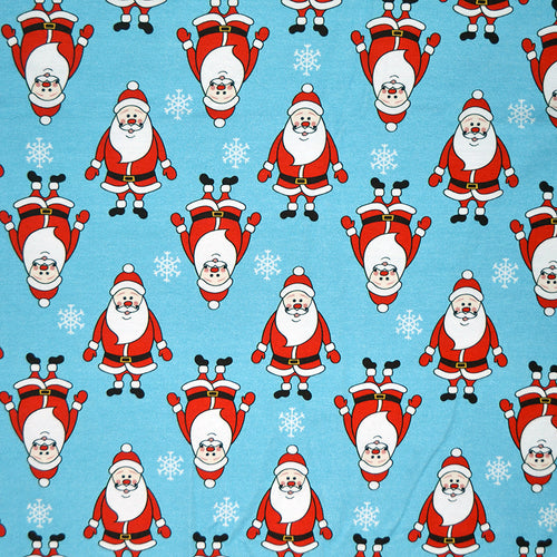 Cotton Lycra Fabric For Christmas seamless pattern with cartoon Santa Claus against blue background with snowflakes 68479045