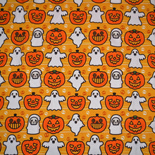 Load image into Gallery viewer, Cotton Lycra Fabric For Halloween Ghost and Pumpkin Pattern 8084912