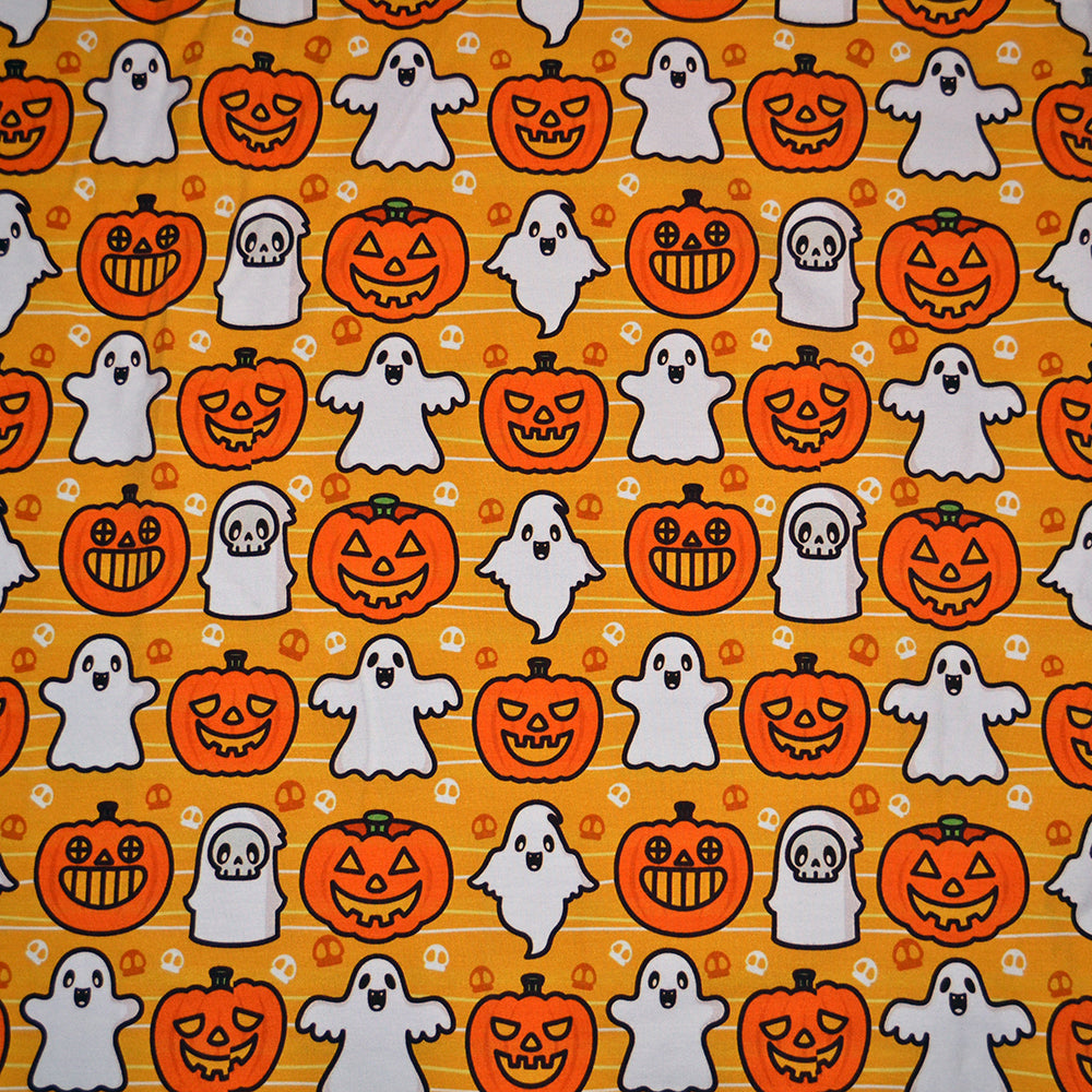 Cotton Lycra Fabric For Halloween Ghost and Pumpkin Pattern 8084912