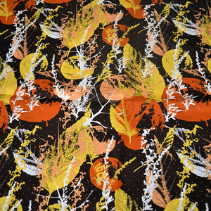 Cotton Satin Fabric With Abstract seamless pattern with leaves 24387399