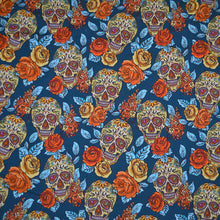 Load image into Gallery viewer, Cotton Lycra Fabric For Skull, diamond and Flowers Seamless Background 30820203