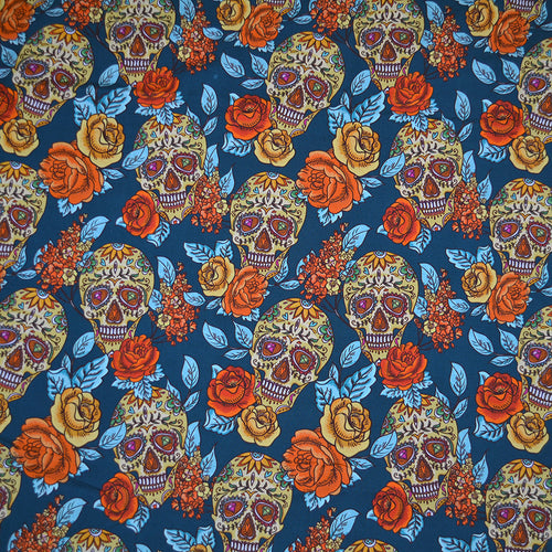 Cotton Lycra Fabric For Skull, diamond and Flowers Seamless Background 30820203