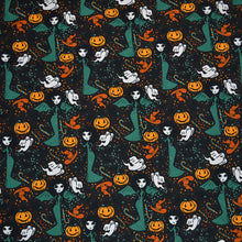 Load image into Gallery viewer, Cotton Lycra Fabric For Seamless pattern with cute doodle witches for halloween 77995251