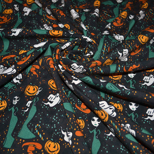 Cotton Lycra Fabric For Seamless pattern with cute doodle witches for halloween 77995251